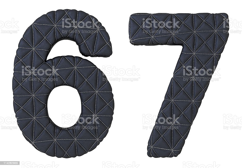 Stitched leather font 6 7 numerals royalty-free stock photo