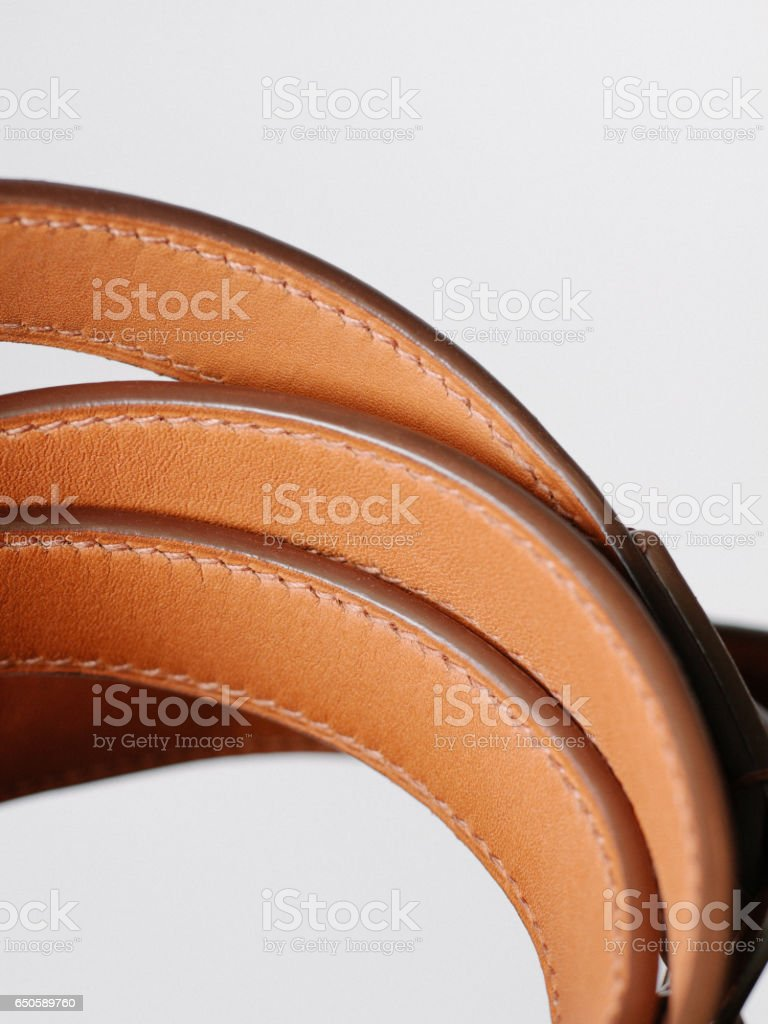 Stitched leather strap stock photo