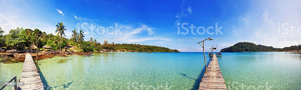 Stitched Panorama of tropical beach. royalty-free stock photo