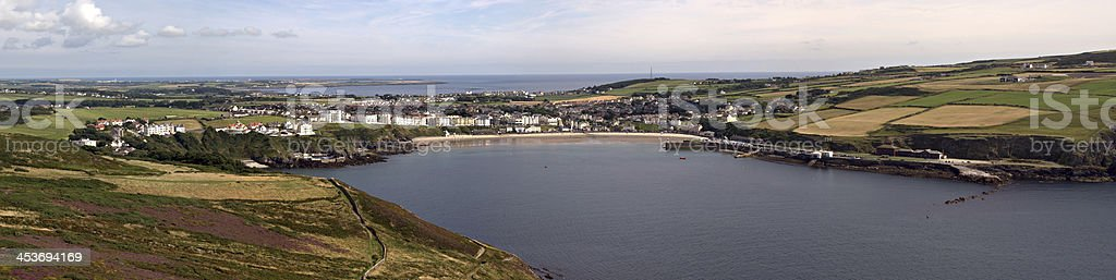 Stitched Panorama Port Erin Bay Isle of Man stock photo