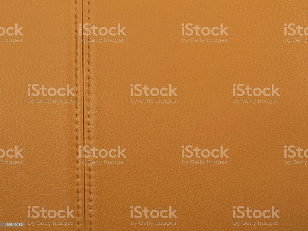 Stitched tan leather stock photo