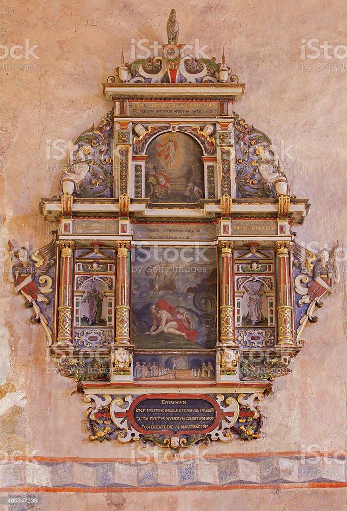 Stitnik - Renaissance-baroque epitaph from presbytery of gothic church stock photo