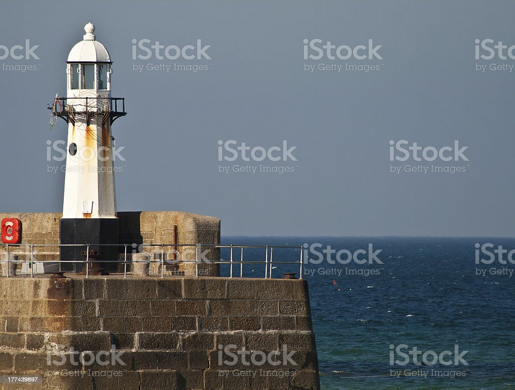 St.Ives harbour lighthouse stock photo