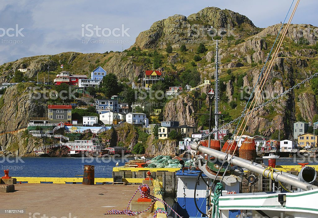 St.John's Harbour and Battery stock photo