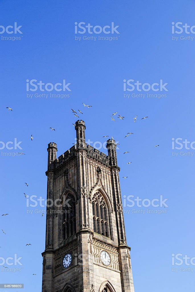St.Luke Church in Liverpool with birds stock photo