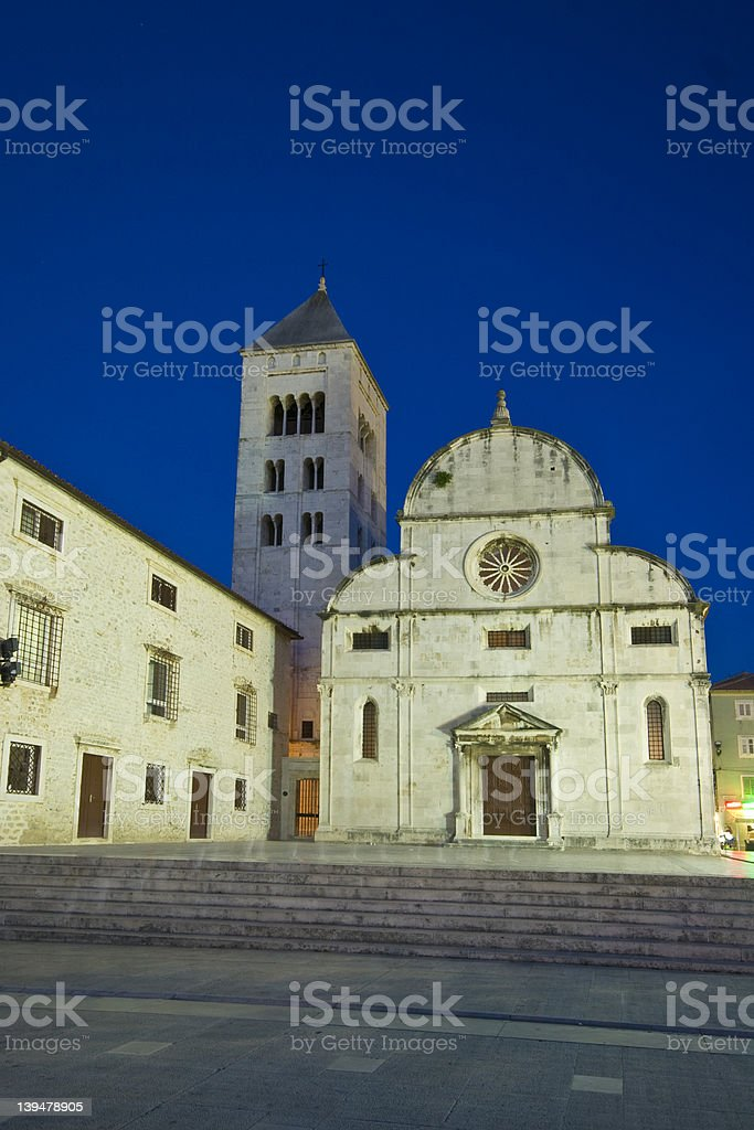 St.Mary`s church and convict in Zadar at dusk royalty-free stock photo
