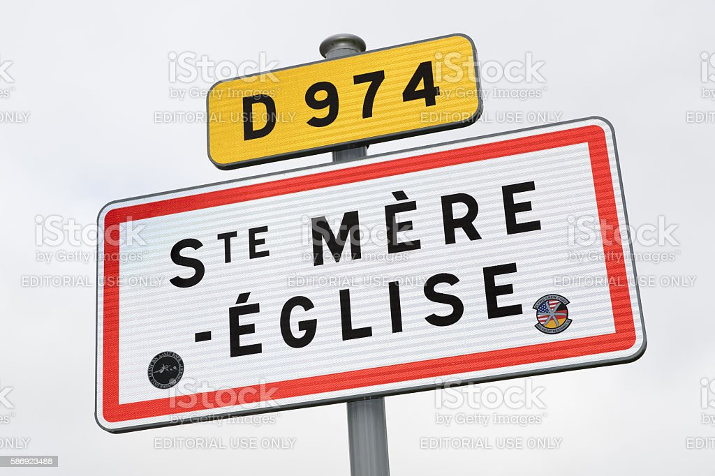 St.Mere Eglise road sign, Normandy, France stock photo