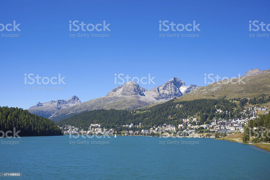 St.Moritz on a bright sunny day stock photo