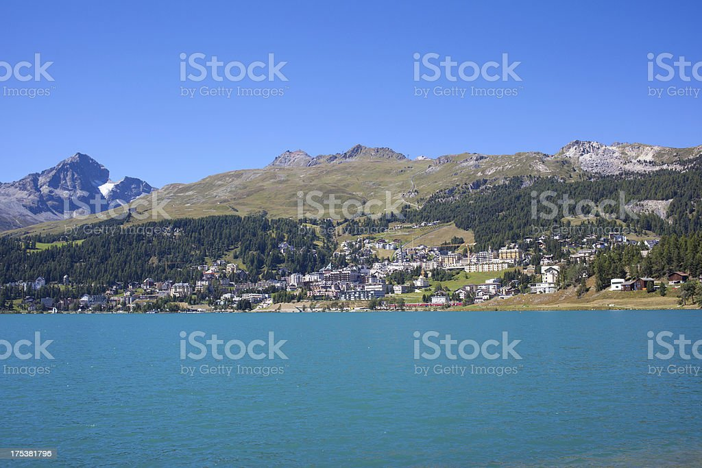 St.Moritz on a bright sunny day, Switzerland stock photo