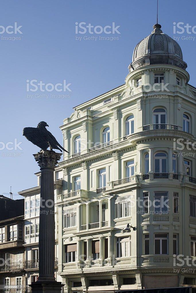 Sto Domingo square, Lugo, Spain. stock photo