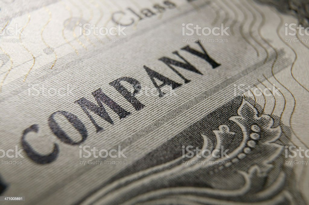 StocClose up of stock certificate detail royalty-free stock photo