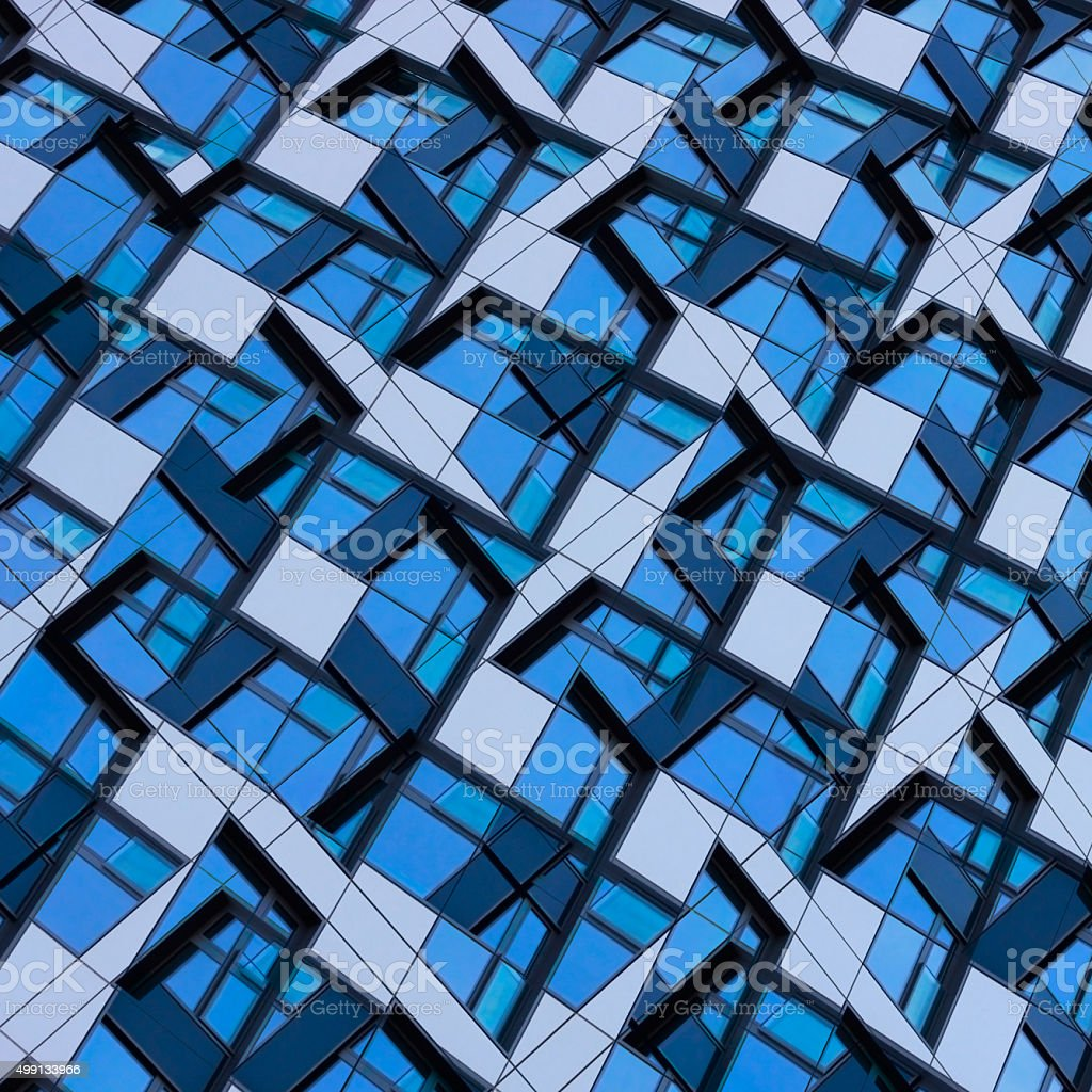Stochastic hi-tech mosaic or puzzle consisting of irregular polygonal parts stock photo