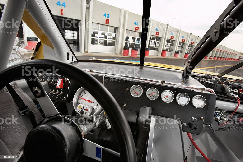 Stock car cockpit stock photo