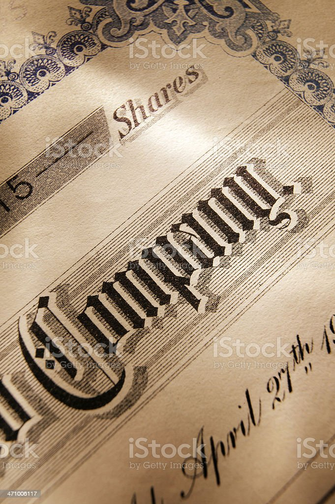 Stock Certificate 19 royalty-free stock photo