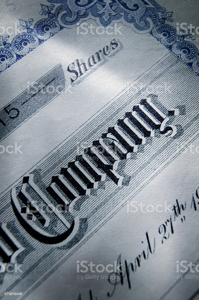 Stock Certificate 27 royalty-free stock photo