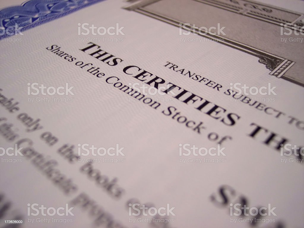 Stock Certificate Macro Common stock photo