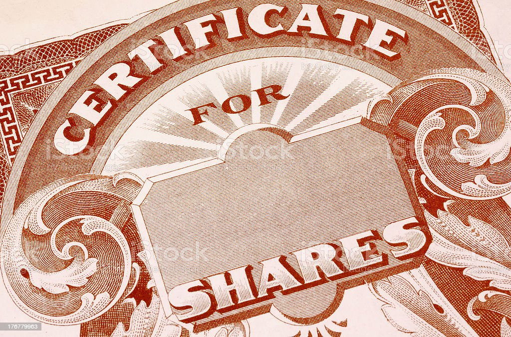 Stock Certificate stock photo