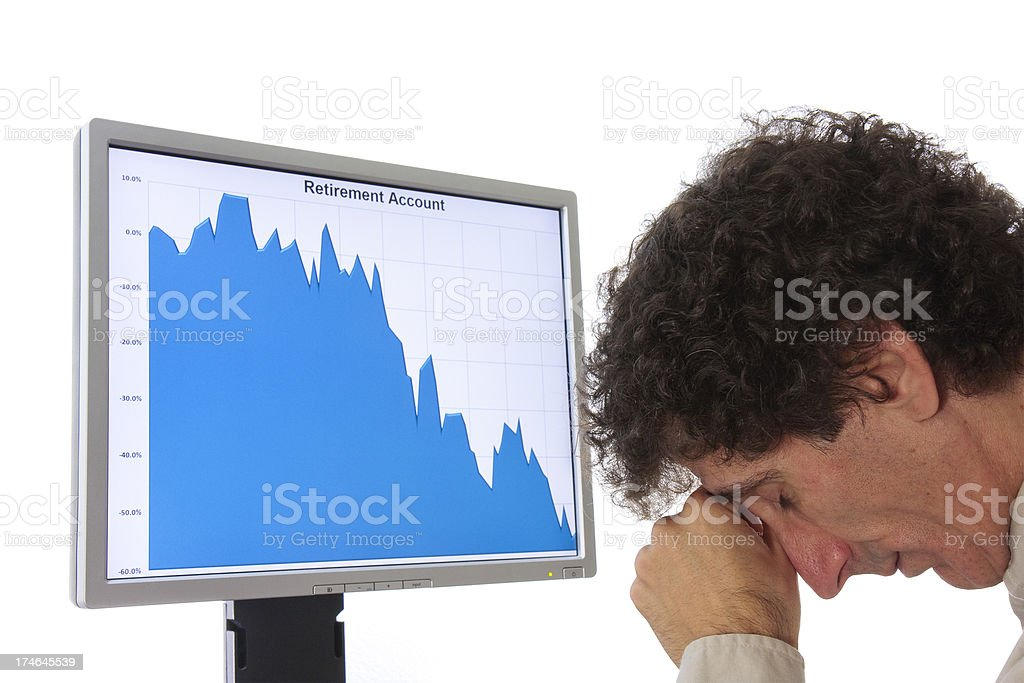 Stock chart and distraught man royalty-free stock photo