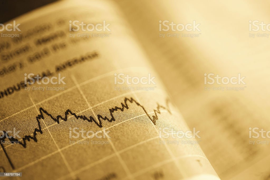 stock chart in a newspaper royalty-free stock photo
