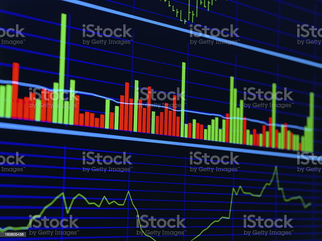 Stock Chart on lcd screen royalty-free stock photo