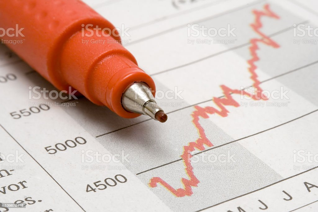 Stock Chart w/ Red Pencil royalty-free stock photo