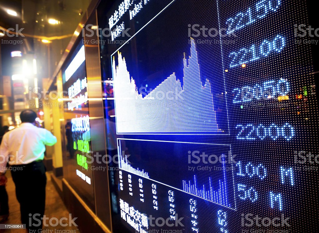 stock charts in a street royalty-free stock photo