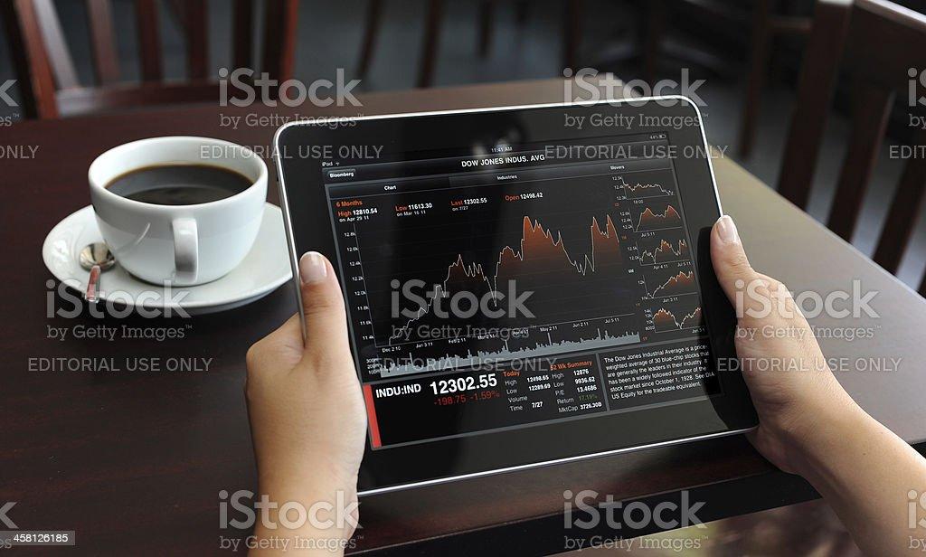 Stock Charts on Apple iPad stock photo