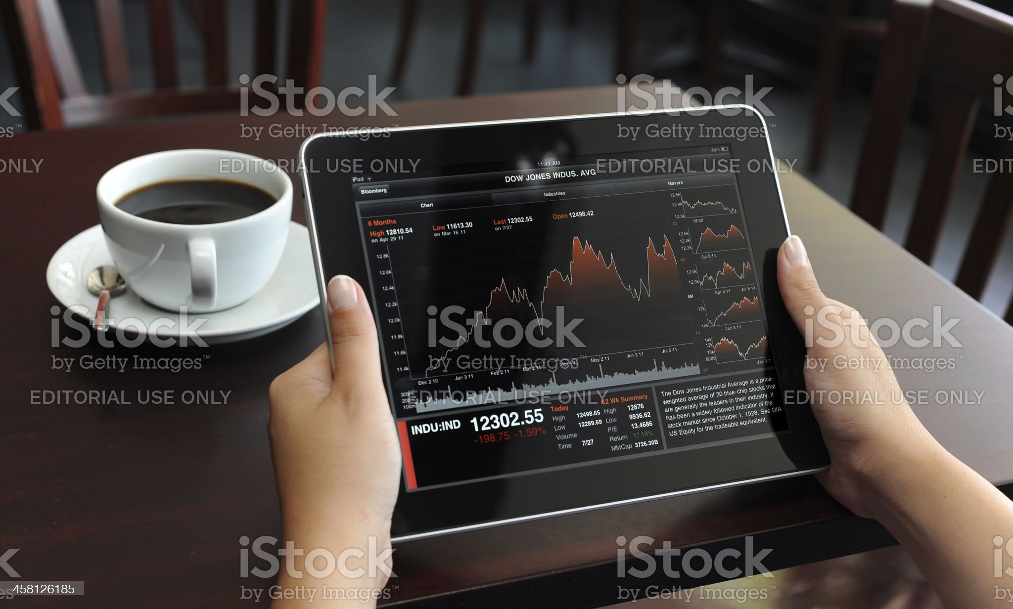 Stock Charts on Apple iPad royalty-free stock photo