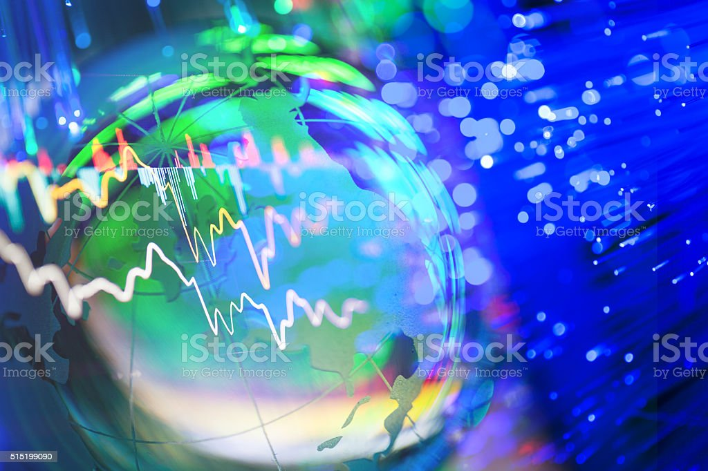 stock data green with global ball stock photo