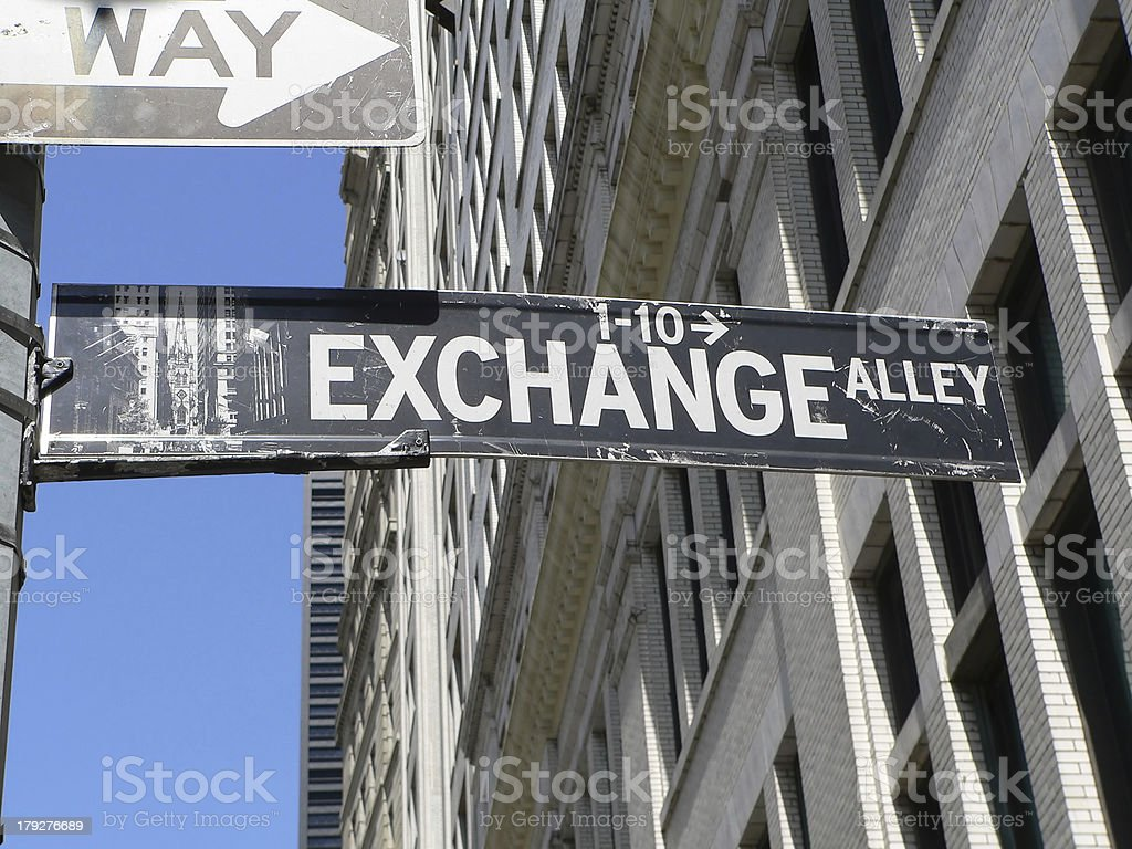 Stock Exchange Alley sign by American Stock Exchange in Manhatta royalty-free stock photo