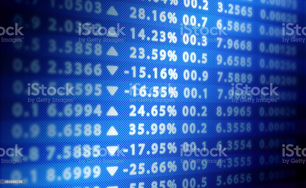 Stock exchange blue score wall stock photo