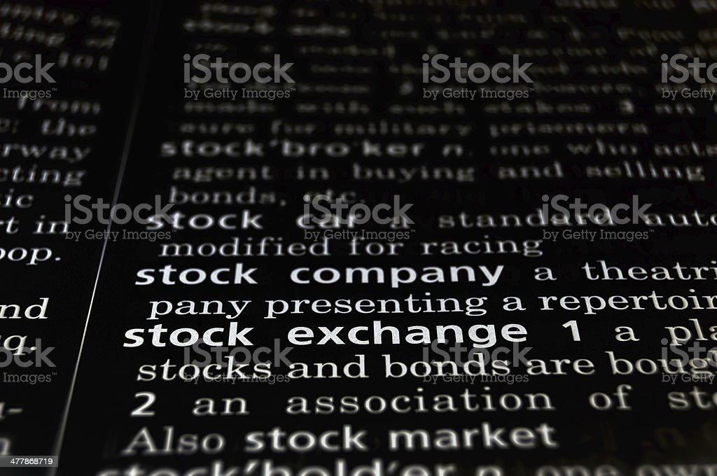 Stock Exchange Defined on Black royalty-free stock photo