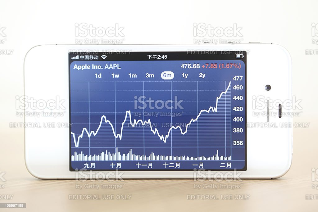 Stock exchange diagram application on a smartphone Apple iPhone 4s. royalty-free stock photo