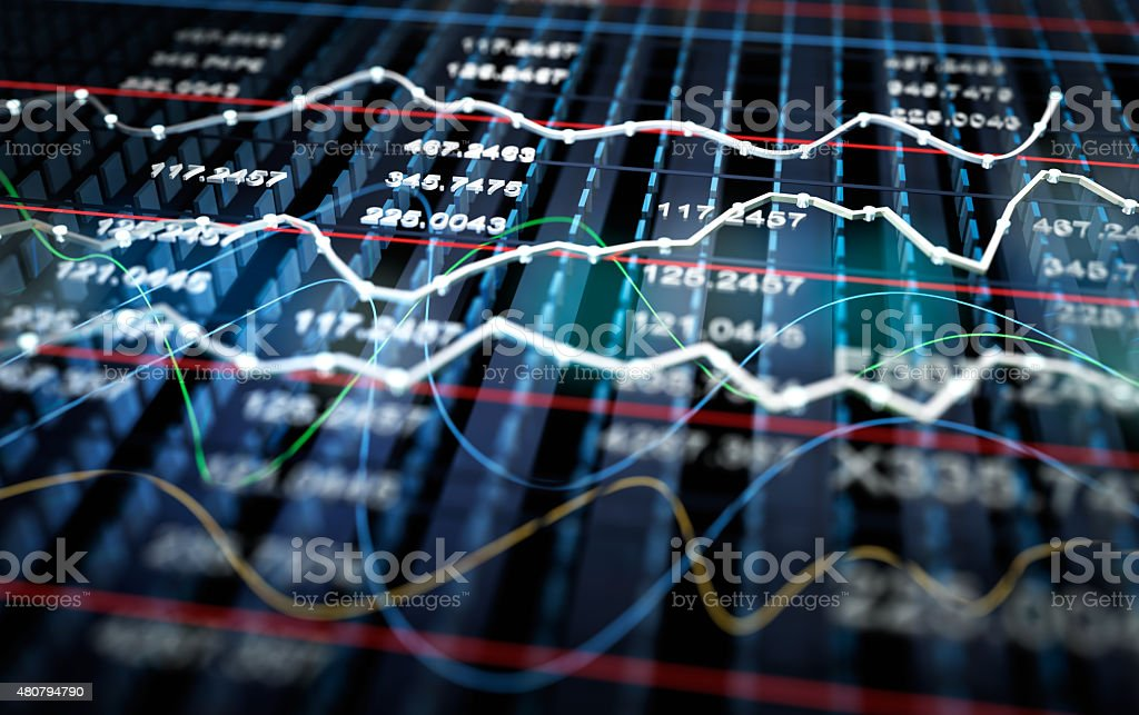 Stock exchange graph background, 3D illustration stock photo