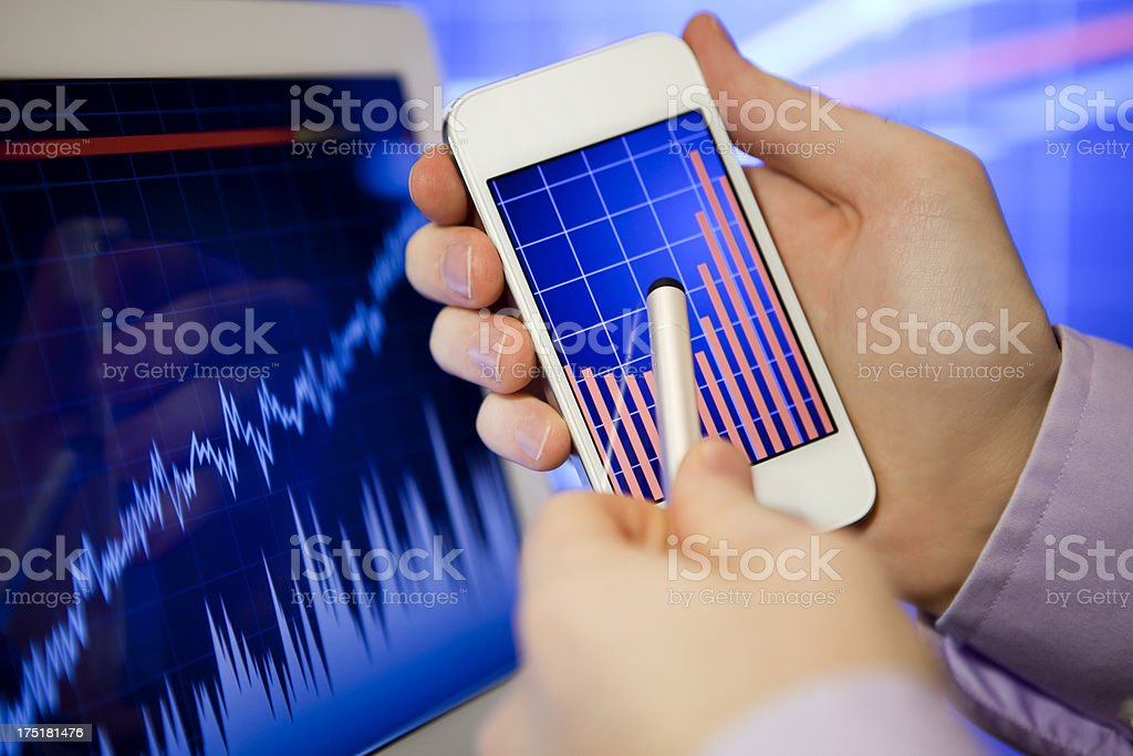 Stock Exchange on Gadgets royalty-free stock photo