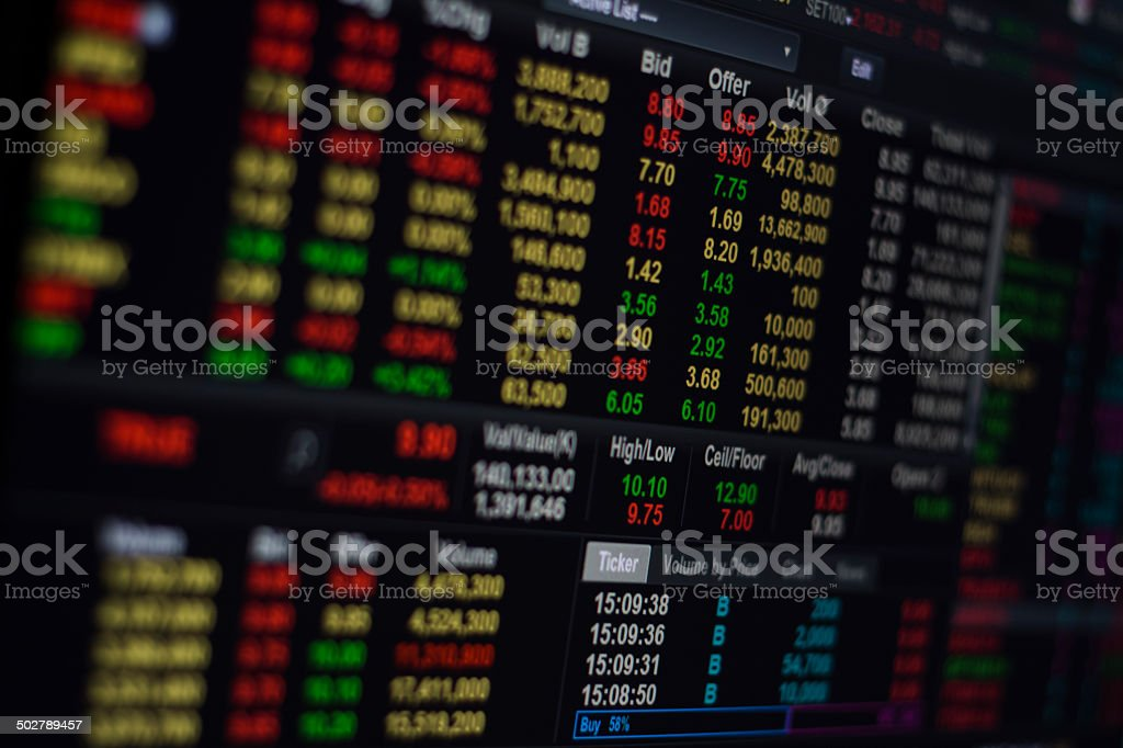 Stock Exchange on screen stock photo