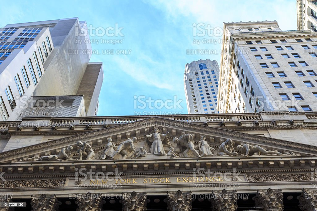 NYC Stock Exchange ornamental facade stock photo