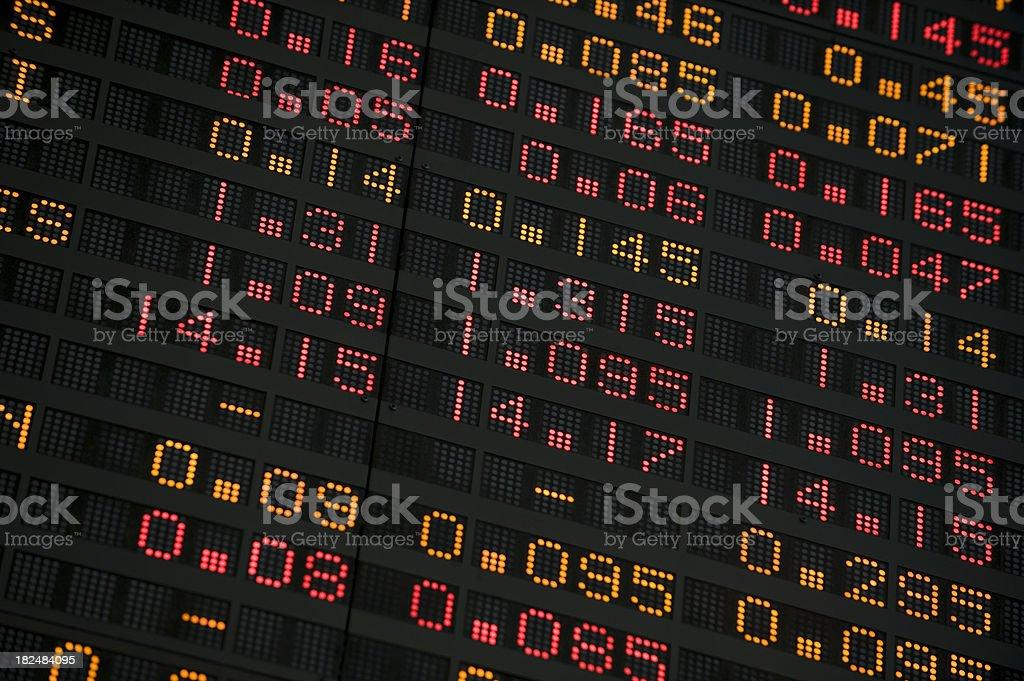 Stock Exchange screen showing financial figures stock photo