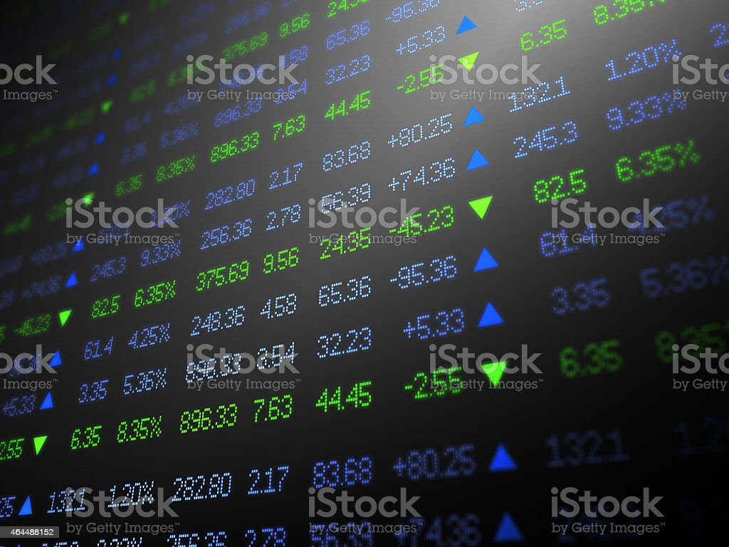 Stock Exchange Ticker Numbers and Arrows on Black stock photo