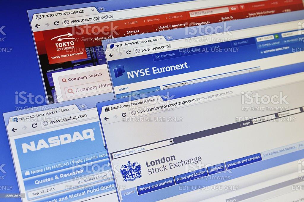 Stock exchange web sites on computer monitor. royalty-free stock photo