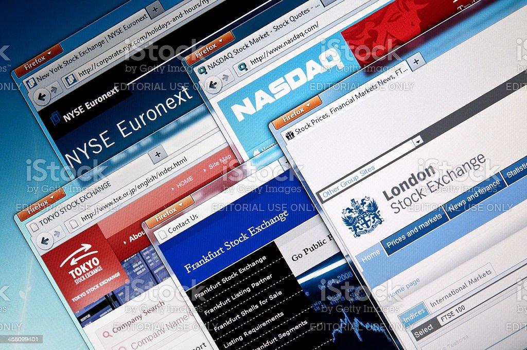Stock Exchange web sites stock photo