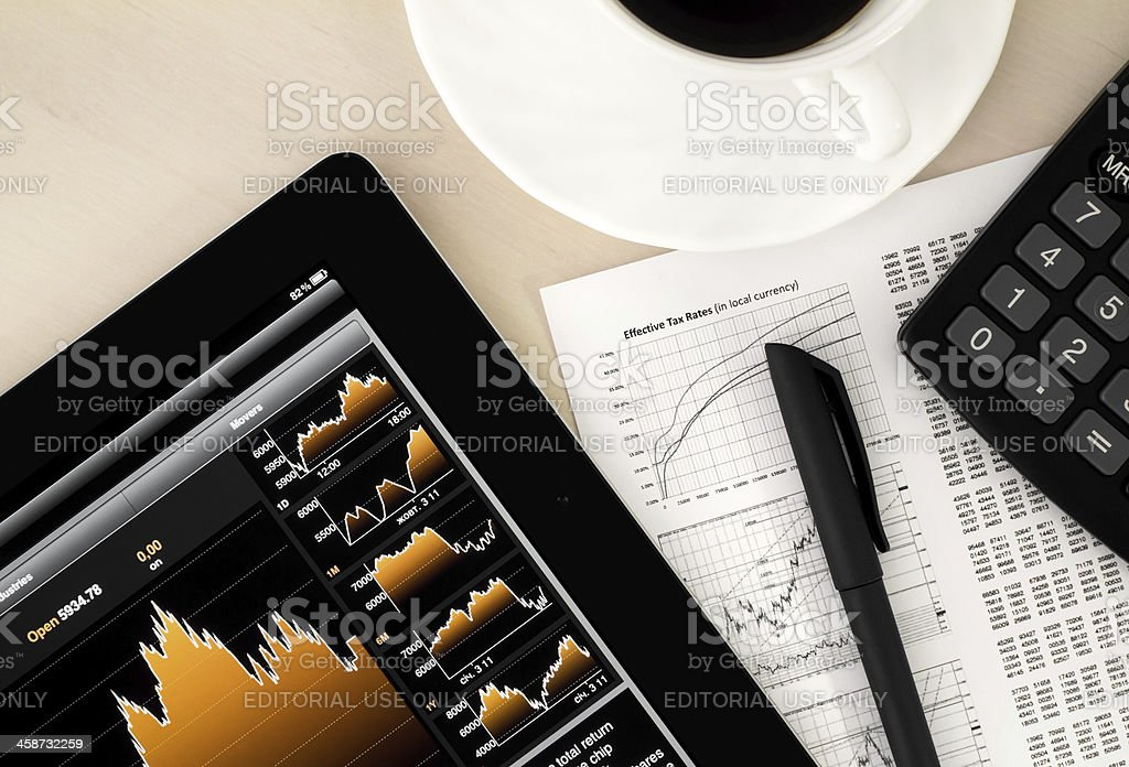 Stock Exchange Workplace stock photo