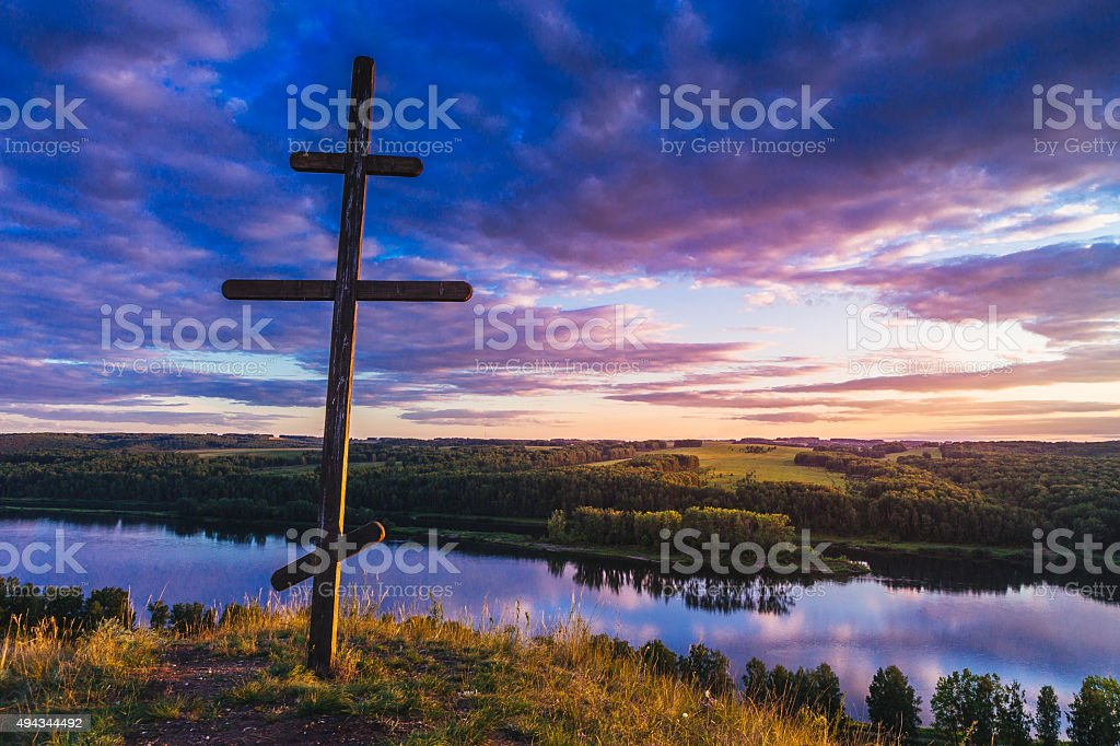 – Stock Image  Cross on the hill stock photo