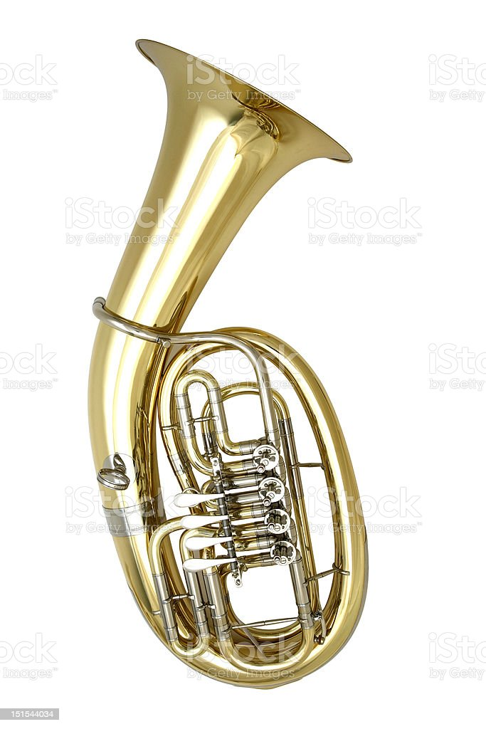 Stock image of a tuba on a white background stock photo
