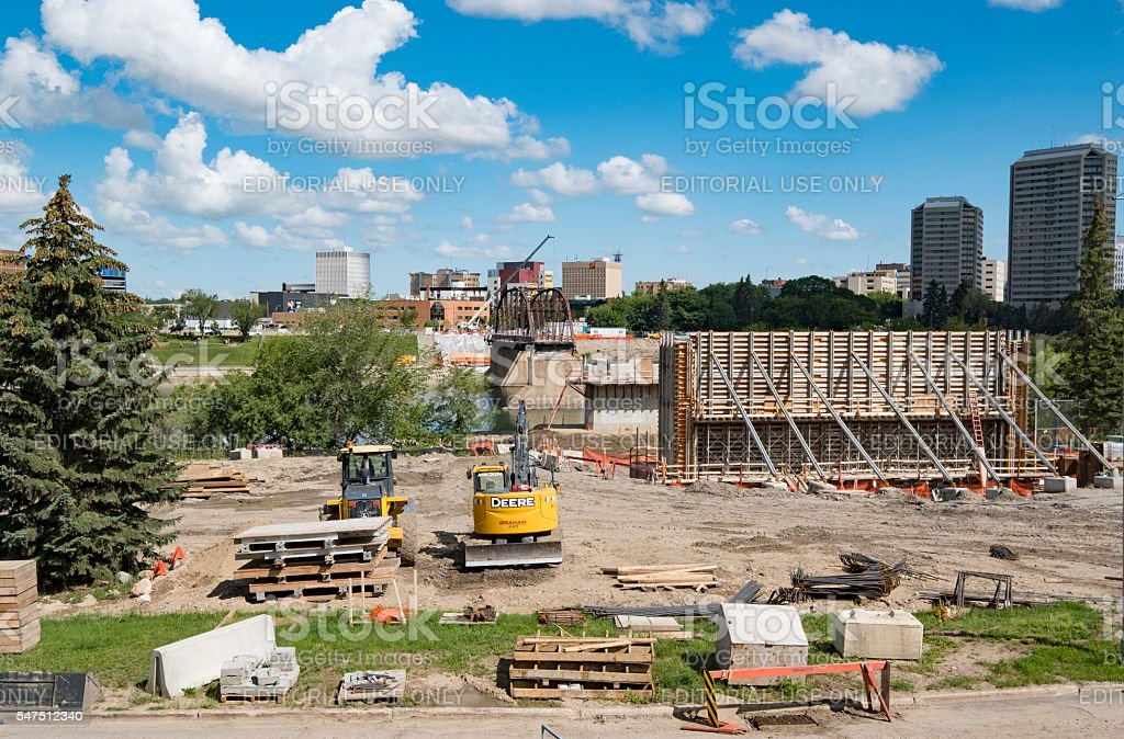 Stock Image of Construction of Saskatoon Traffic Bridge stock photo