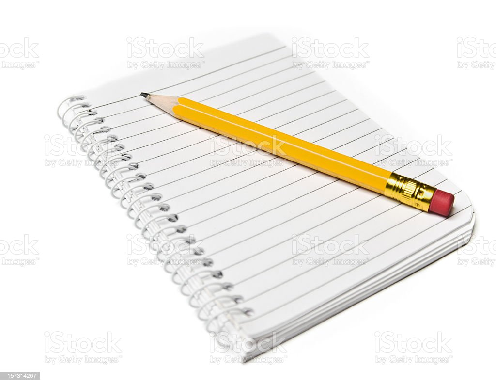 Stock image of spiral bound notebook with sharp pencil royalty-free stock photo