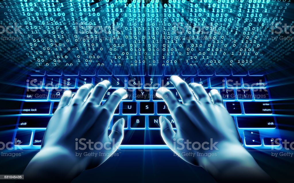 Stock image: Typing on computer keyboard stock photo