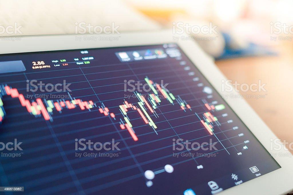Stock market analysis in digital tablet display screen stock photo