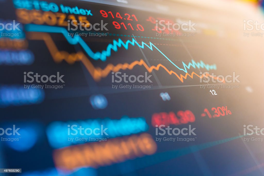 Stock market analysis in digital tablet display screen stock photo