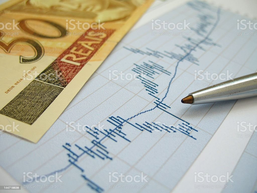 Stock market analysis with pen stock photo